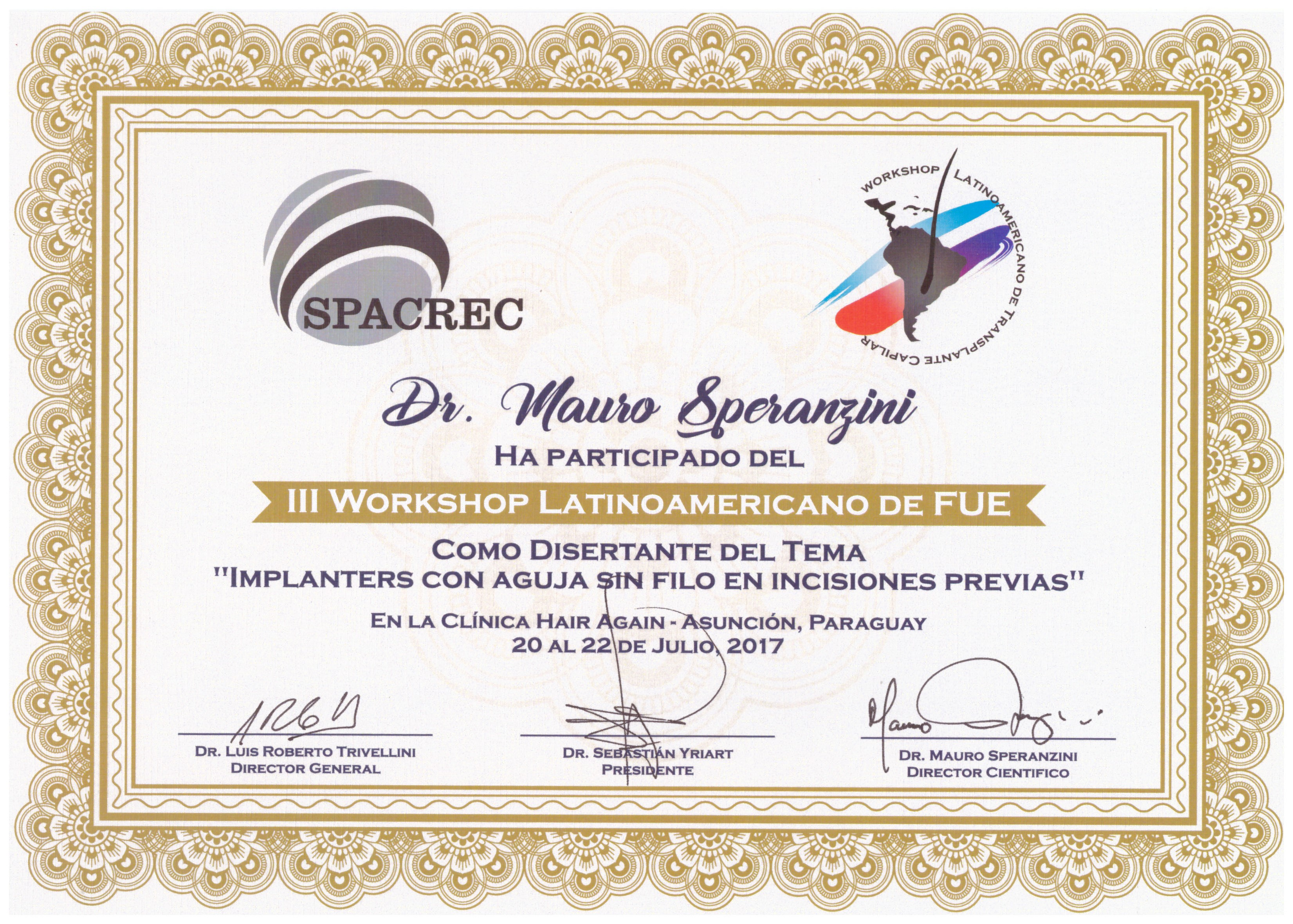 certificado do dr. mauro speranzini